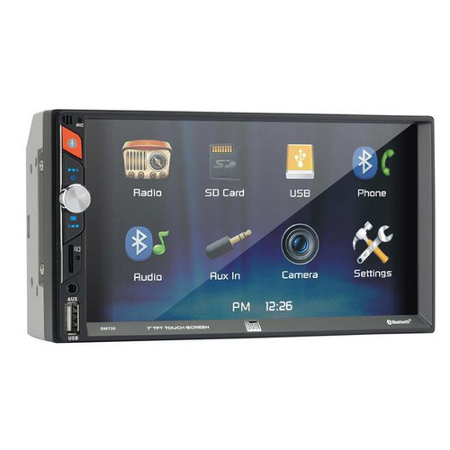 """Dual DM720 7"""" Touchscreen Double Din Bluetooth Mechless Multimedia Receiver  This Dual DM720 7-Inch Double-DIN In-Dash Mechless Receiver with Bluetooth features a 7 in. digital LED backlit high-definition LCD TFT display. It also features built-in Bluetooth, Voice activation button to activate Siri or the Google Assistant on your phone, an on-screen button for instant access to your favorite navigation app on your smartphone, Dual's iPlug smart remote app, 7 EQ presets, and MicroSD Card, USB, and 3.5 mm aux inputs. This all-digital mechless car stereo receiver is designed for today's smartphone and digital media user so there is no CD or DVD player."""