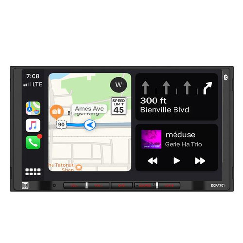 """Dual 7"""" Touchscreen 2 DIN Radio with Bluetooth, Voice Control, & Apple CarPlay  Looking for a vehicle upgrade? The DCPA701 is a Digital Media Receiver with a 7"""" Touchscreen. Works this both Apple CarPlay and Android Auto so you get the best of both sides without worrying what phone you have! As well as the many features it possesses it also holds the capability of Hands-Free Calling."""