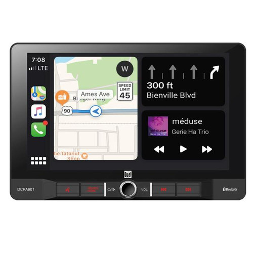 """Dual 9"""" Touchscreen 1 DIN Radio with Bluetooth, Apple CarPlay, & Android Auto  Looking for a vehicle upgrade? The DCPA901 is a Digital Media Receiver with a Extra Large 9"""" Touchscreen. Works with both Apple CarPlay and Android Auto so you get the best of both sides without worrying what phone you have. As well as the many features it possesses it also holds the capability of Hands-Free Calling. Adjustable height, depth, tilt and pivot so you can customize your viewing experience."""