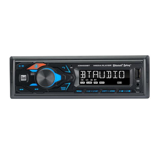 Dual XRM59BT Single Din Bluetooth AM/FM MP3 USB/AUX Digital Car Stereo  This Listing Includes: (1) Car Stereo (1) Wiring Harness  Features: - 200 Watts (50 Watts x 4) - Built-in Bluetooth® for hands-free calling, audio streaming, and player control. Built-in microphone. - Easy access voice activation button to activate Siri® or the Google Assistant™ on your phone. - Dual Smart Remote App via Bluetooth® (Apple®/Android™) - AM/FM Receiver with 30 Station presets (18FM/12AM) - Front panel USB input - Front panel 3.5mm AUX input - 7 Character LCD - MP3 playback - 1 Pair of RCA preamp outputs (Front or Rear) - 2 Band tone control (Bass/Treble) - 4 Preset EQ curves (Classic, Rock, Pop, Flat) - Very shallow mount design for easy installation