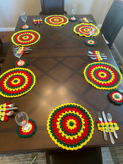 Crochet Placemats + Coastes - Set of 6 - Green, Yellow, Red