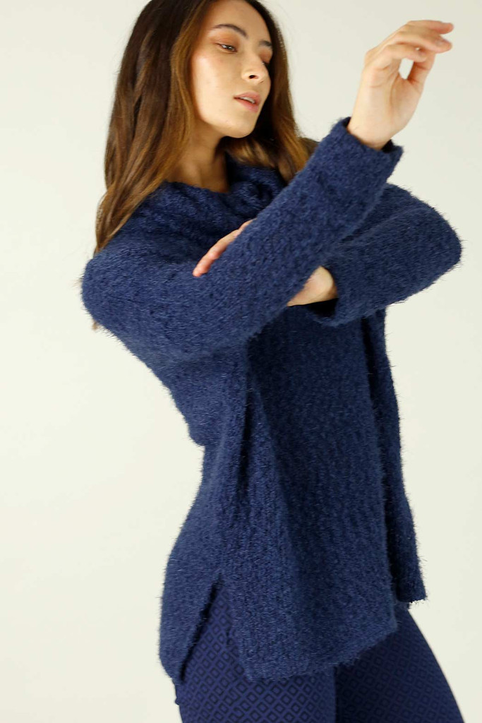 Blue Fluffy Turtle Neck Jumper