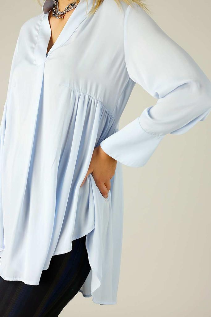 Pale Blue Seta Babydoll Shirt