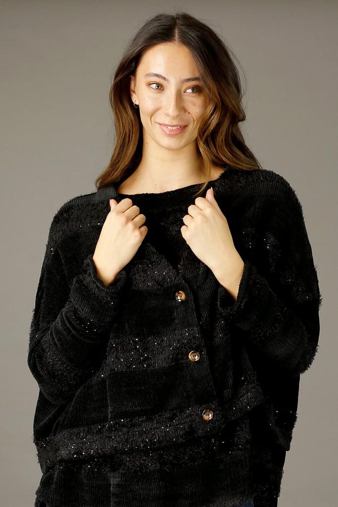Black Fluffy Stripe Wonder Cardigan