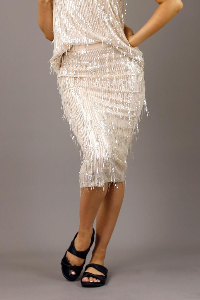 Ivory Allure Sequin Skirt