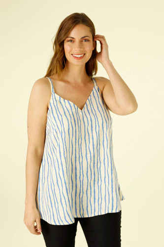 Blue Stripe Silky Barcelona Cami - FINAL SALE