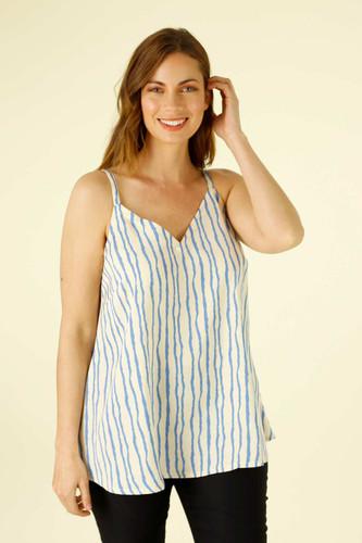 Blue Stripe Silky Barcelona Cami - FINAL SALE
