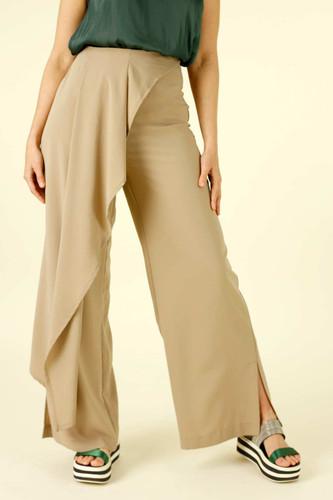 Beige Luxury Side Fold Pant - FINAL SALE