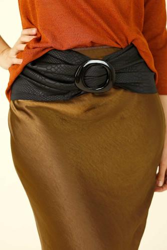 Black Textured Leatherette Buckle Belt