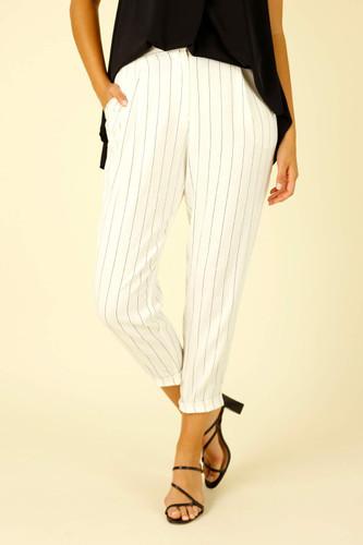 White Stripe Faux Linen Tori Pant - FINAL SALE