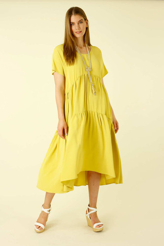 Chartreuse Soft Touch Smock Dress