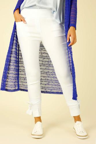 White Slim Ankle Tie Jean - FINAL SALE