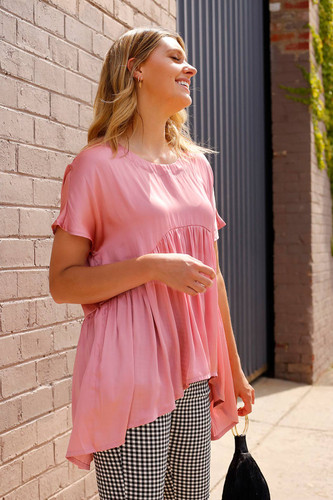 Pink Silky Smock Top