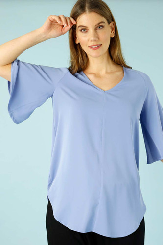 Sky Soft Touch Bell Sleeve Top - FINAL SALE