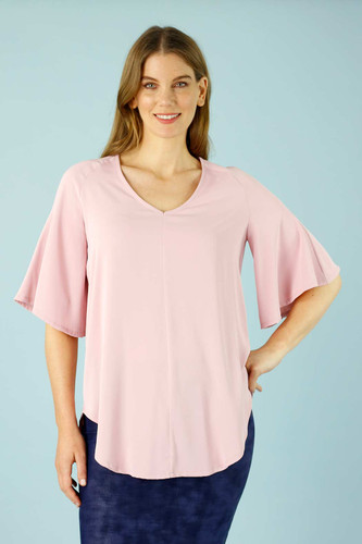 Pale Pink Soft Touch Bell Sleeve Top - FINAL SALE
