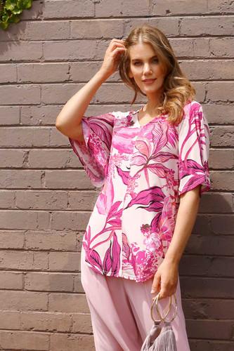 Pink Palms Jersey Bell Sleeve Top - FINAL SALE