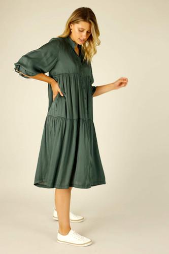 Teal Silky Quinn Shacket Dress - SALE