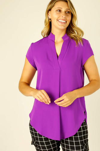 Magenta Soft Touch Cap Blogger Top