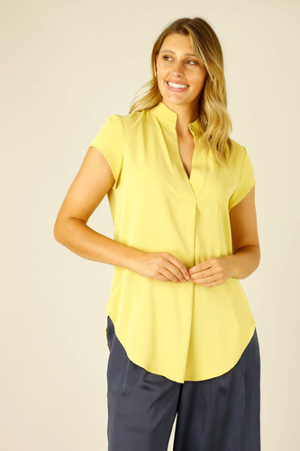 Chartreuse Soft Touch Cap Blogger Top- SALE