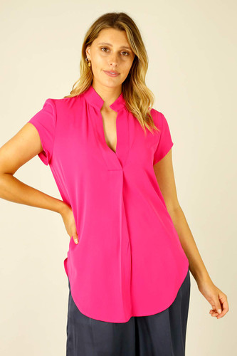 Hot Pink Soft Touch Cap Blogger Top - SALE