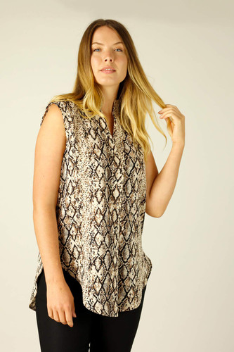 Brown Snake Crepe Blogger Cami