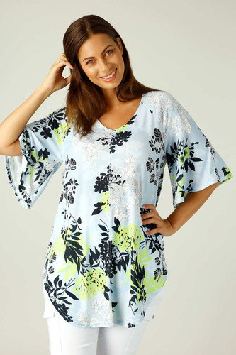 Floral Jersey Bell Sleeve Top