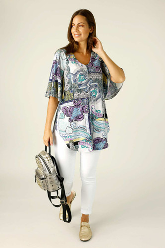 Paisley Jersey Bell Sleeve Top