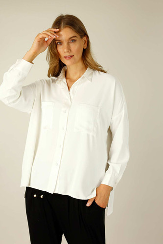 White Soft Touch Patchwork Overshirt - SALE