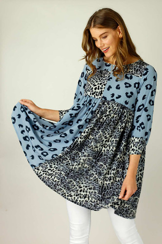 Blue Nano Patchwork Dress - FINAL SALE