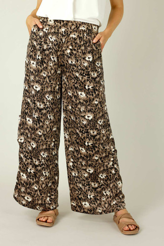 Brown Animal Print Pocket Culotte- SALE