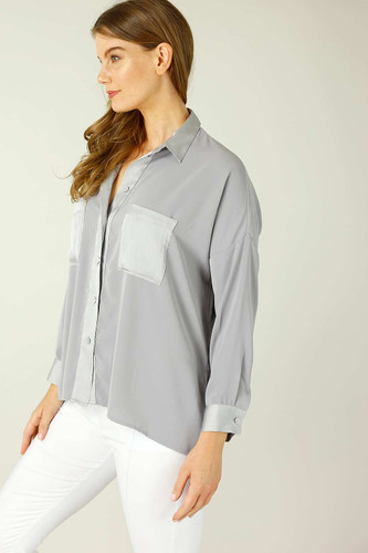 Grey Soft Touch Patchwork Overshirt