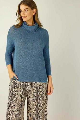 Denim Liberty Knit Turtle Neck