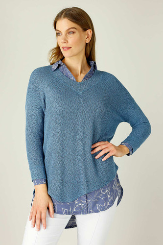 Denim Liberty Knit Vee Overtop
