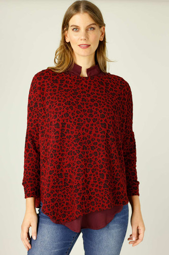Red Animal Jacquard Overtop -FINAL SALE