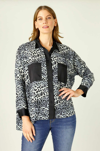 Blue Animal Nano Patchwork Overshirt