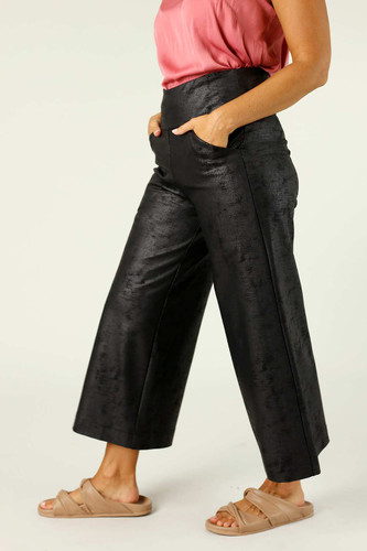 Black Leatherette Jet Culotte