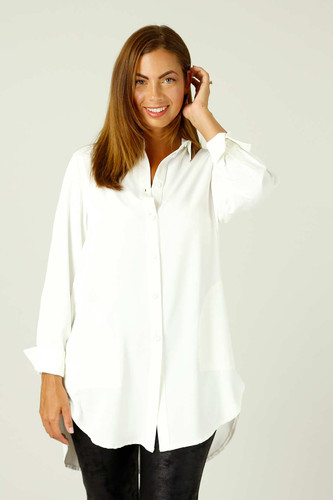 Ivory Soft Touch Cuffed Pocket Shirt