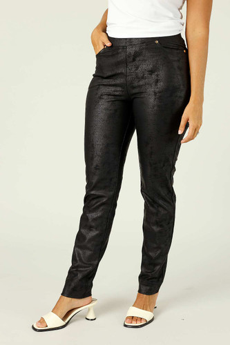 Black Leatherette Pull On Jean