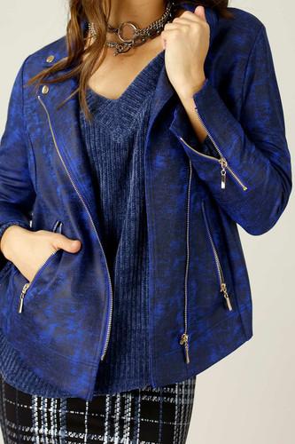 Cobalt Leatherette Biker Jacket - SALE