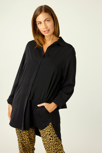 Black Soft Touch Cuffed Pocket Shirt