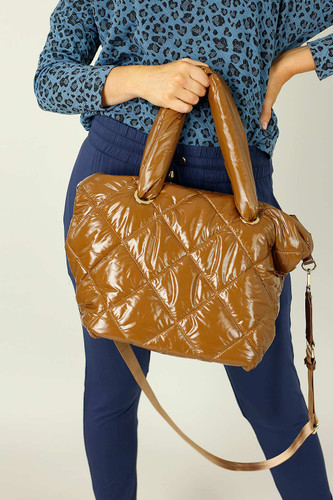 Tan Quilted Tote Bag - SALE