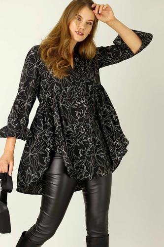 Black Floral Nano Babydoll Shirt