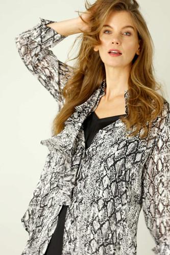 Grey Snake Chiffon Waterfall Shirt