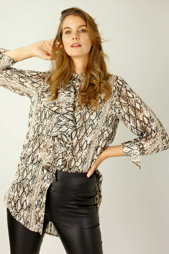 Brown Snake Chiffon Waterfall Shirt