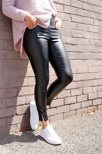 Black Waxed Leatherette Stud Jean
