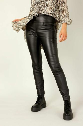 Black Waxed Leatherette Easy Jean