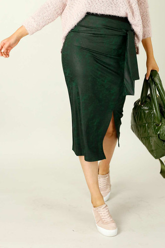 Forest Leatherette Harlow Skirt - FINAL SALE