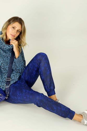 Cobalt Leatherette Stitch Jogger