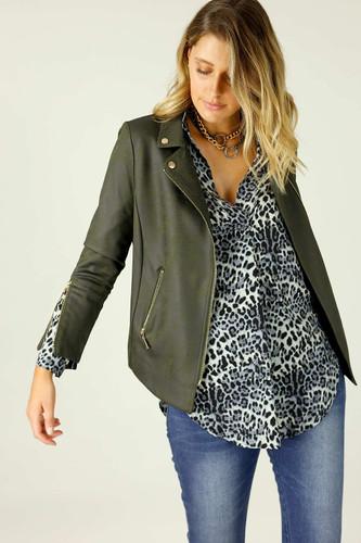 Khaki Leatherette Biker Jacket