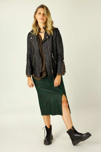 Black Leatherette Biker Jacket